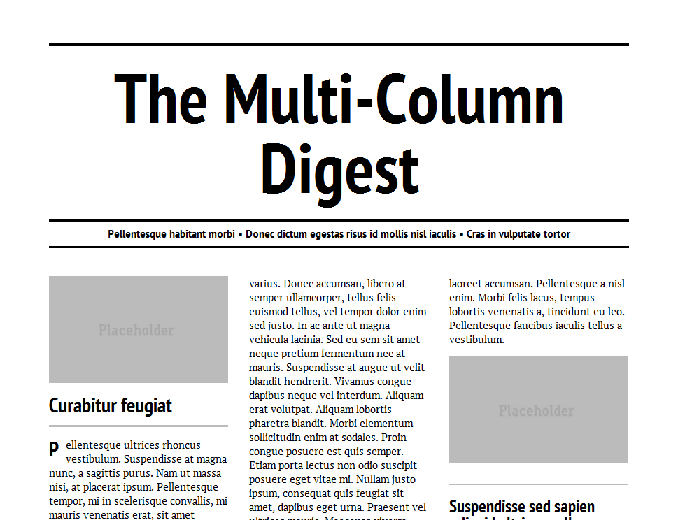 The Multi-Column Digest, example of multi-column layout